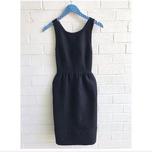 Anthro Maeve Rokin Black Textured Cross Back Dress
